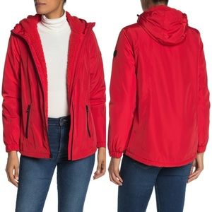 NWT Michael Kors Red Faux Shearling Jacket L